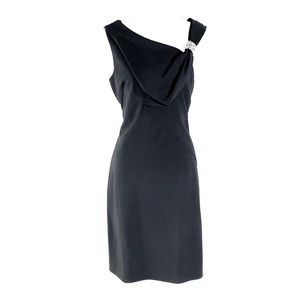 Nue by Shani black fold over bead strap dress